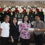 Financial assistace handed over by Vice Gov. Jie jie  Almonte to Sb. Jerry R. Cuizon of Municipality of Bonifacio for the loan amortization of the heavy equipment-town festival